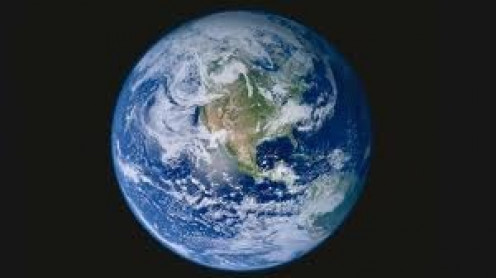 Planet earth with a view centered on North America. Earth is covered in one third water.