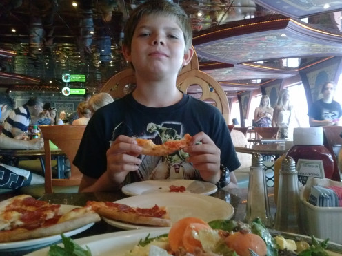My son and I enjoyed the buffet lunch nearly everyday, including the first day when we indulged in pizza and the salad bar.