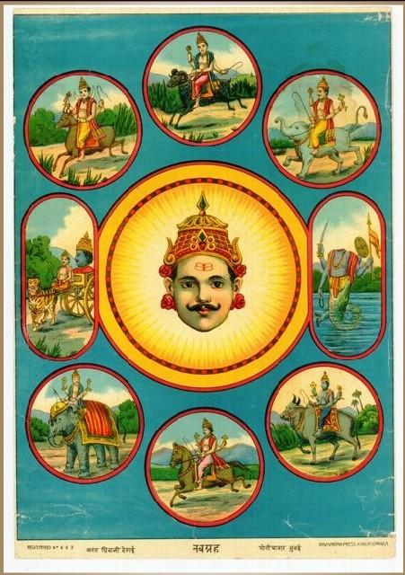Navagraha (Nine planets) arrangement. Picture from baroda art gallery