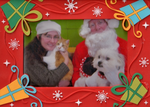 I had to hold Setzer while Santa held Gizmo. Gizmo isn't a big fan of Santa Claus, but he is used to him. Setzer is not, but she did very well!
