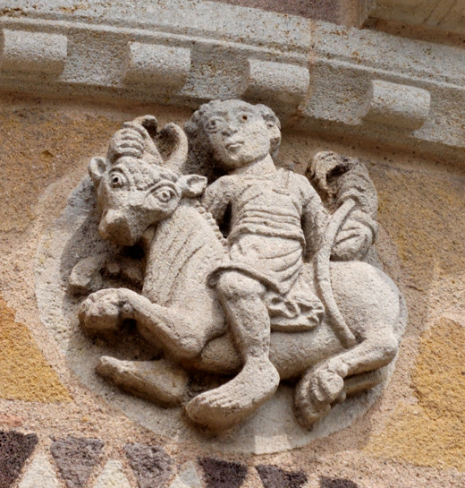 2. Taurus: one of the twelve zodiacal signs ornating the chevet of the church Saint-Austremonius of Issoire (12th century), Auvergne, France.