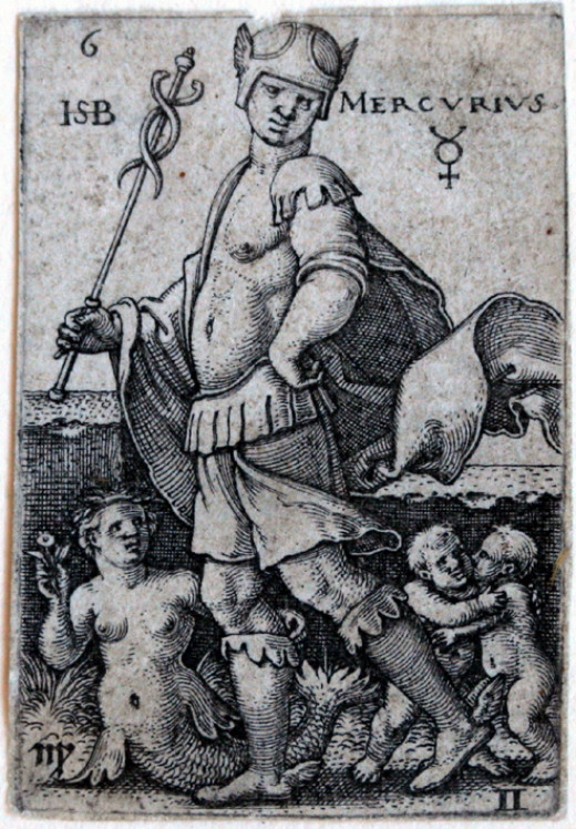3. Gemini--Beham, (Hans) Sebald (1500-1550): Mercury, from The Seven Planets with the Signs of the Zodiac, 1539 (Bartsch 119; Pauli, Holl. 121), first state of three, trimmed to the platemark, occasional skinning verso, with associated tiny paper....