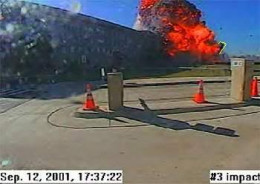 This is the moment of impact at the Pentagon on 9-11, but note the date on the photo plus the fact that until recently, this was the only evidence permitted for general view. Such manipulation encourages conclusion jumping.