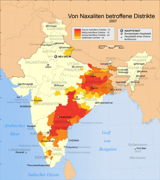 Map showing the districts in India affected by Naxals.