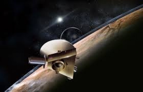 An artist rendering of the New Horizons spacecraft traveling through space.