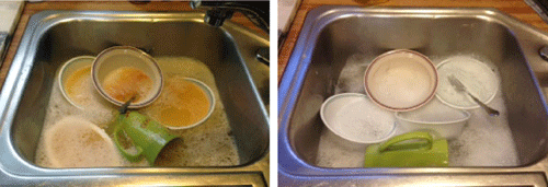 """Both sets of dishes will come out looking """"clean"""".  Which dishes would you prefer to eat from?"""