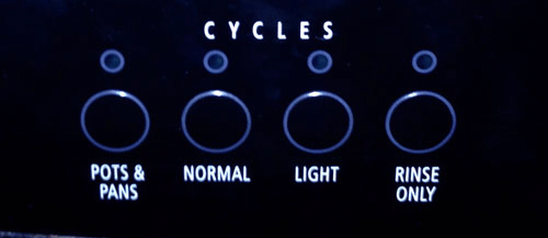 Dishwasher control panel - Cycles