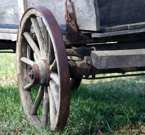 Wagon wheel on a farm wagon