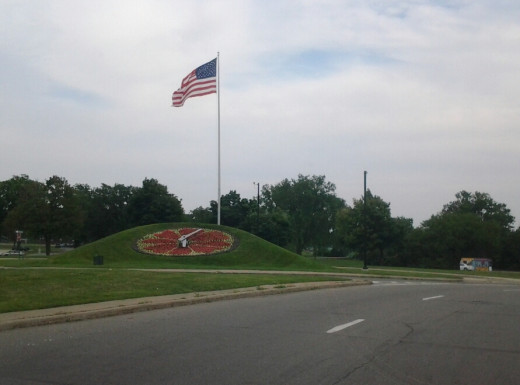 Floral Clock and Flag in Detroit at Belle Isle.