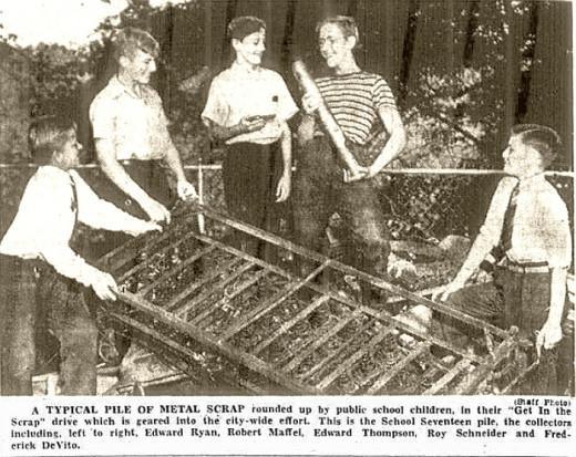 Yonkers children participate in scrap drive for the World War II war effort.