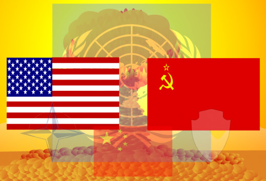 Photo depicting cold war in symbol. Flags of the USSR and the US