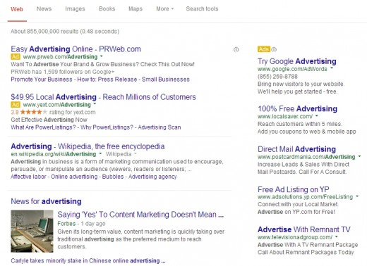 Sponsored search results come first on Google