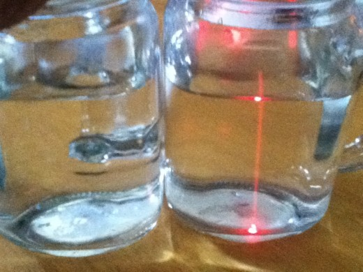 Shine a laser through water and you'll see the light above and below the liquid. Shine a laser through colloidal silver and the laser beam is evident.