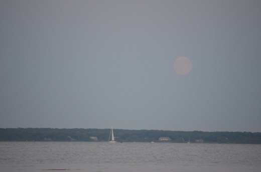 Wickford town beach during the supermoon.