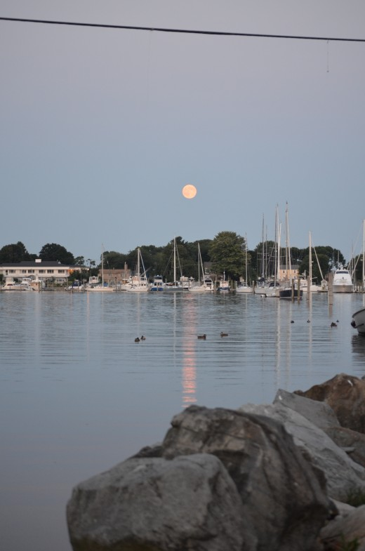 The view from Wickford Village during the supermoon.