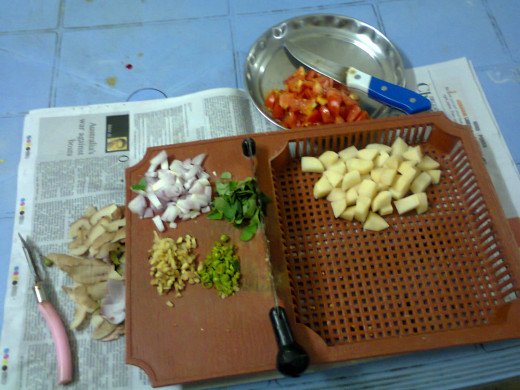 other vegetables cut into pieces and ready for cooking