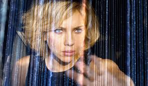 Scarlett Johansson stars as the title character in Lucy, about a woman who becomes intellectually advanced after a smuggled designer drug planted in her stomach ruptures infecting her with the brain enhancing substance.
