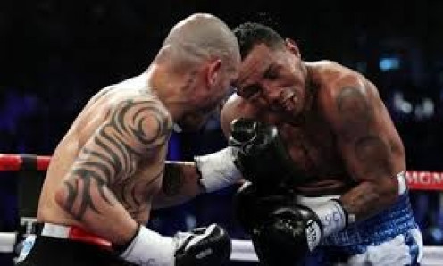 Miguel Cotto knocked Ricardo Mayorga out in the 12th and final round of their jr. middleweight bout.