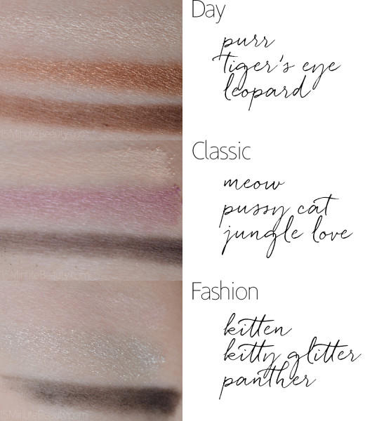 A great visual example on how to mix eye-shadow colors from this product to create the eye-cat looks on your eyes.
