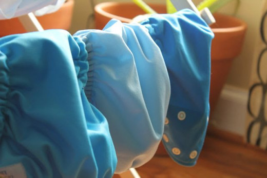 Cloth diapers drying in the sun.