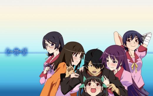 The main cast of Bakemonogatari. From left to right: Tsubasa Hanekawa, Nadeko Sengoku, Koyomi Araragi, Mayoi Hachikuji, Hitagi Senjogahara, and Suruga Kanbaru