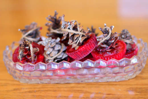 These pine cone fire-starters look great in a container on the mantel above the fireplace!