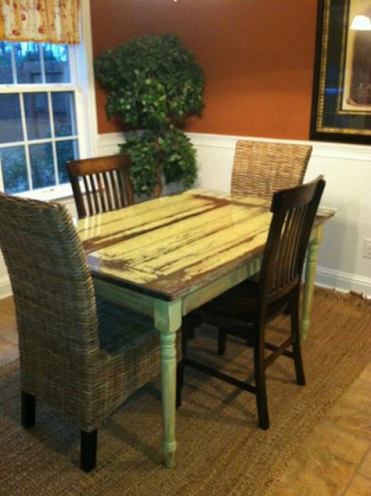 Old doors are also used as table to tops as shown here