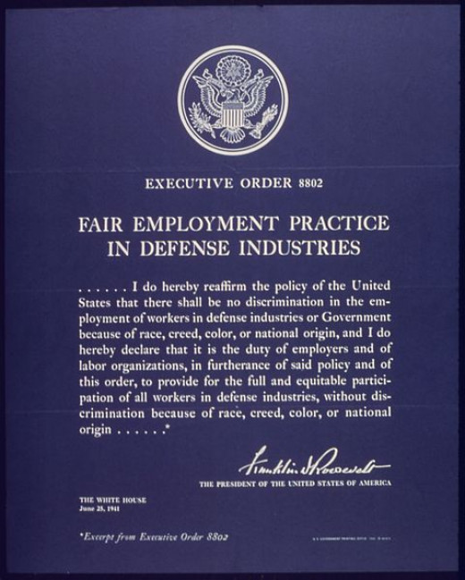 Signed by then US President Franklin D. Roosevelt on June 25, 1941 was the first Federal document to prohibit employment discrimination.
