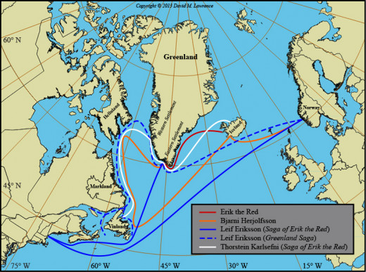 The North Atlantic crossings between Norway, Iceland, Greenland and Vinland - the solid blue line shows Leif Eiriksson's exploration of the North American east coast, now the New England states... Maybe it should be 'New Norway'?