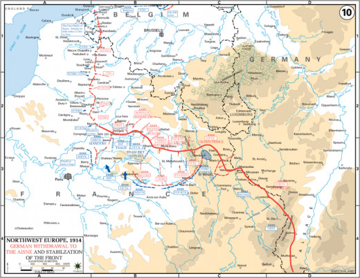 To avoid striking France's border defences head on, the Schlieffen Plan provided for France to be attacked via neutral Belgium. In the event, German troops overran much of northern France but failed to reach Paris.