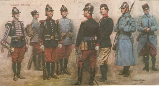 French troops went to war in 1914 in colourful and all too visible uniforms and soft hats. Soon they and all armies would be wearing duller shades of camouflage clothing, topped with protective steel helmets.