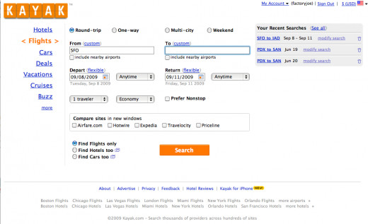 Kayak.com Screenshot Best place to find cheap flights