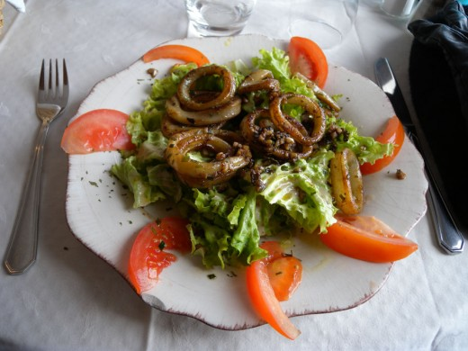Calamari Salad from seaside restaurant in Sete