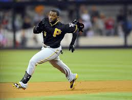 Josh Harrison has rounded second and headed for third on six triples already this season.