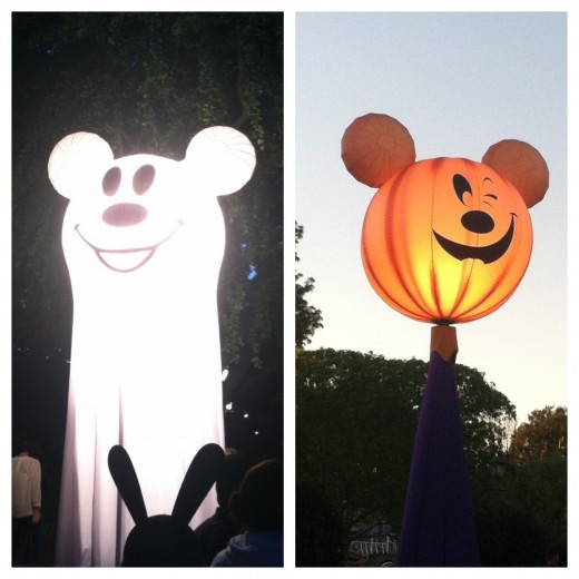 This is a Mickey ghost located outside the Haunted Mansion and a friendly Mickey pumpkin can be found throughout the park. They are typically located near trick-or-treat stations.