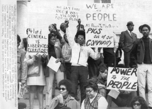 The Black Panther Party in Los Angeles pushed for freedom, but also reinforced their standpoint with self-defense and active civil disobedience.