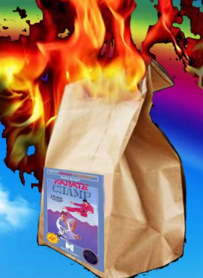 In the original packaging, Karate Champ arrived on your doorstep inside a bag of flaming dog poop. The kids loved it. This is the official advertisement from Nintendo Power. Data East really knew how to market their games appropriately.