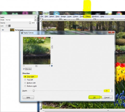 This is the popup which will appear when you click on Filter --  Artistic --  Apply Canvas.