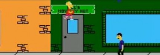 The game designers felt that it was logical for Bart to be able to stand on a closed door with no obvious surface to stand on. This is the logic that went into this game. This is why the game sucks. It was programmed by idiots.