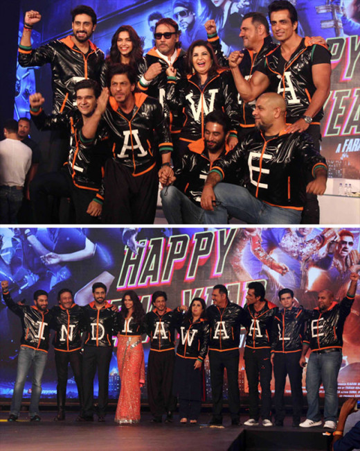 On the eve of India's Independence Day, Shah Rukh Khan and his team of Happy New Year came together to launch their upcoming films' trailer.