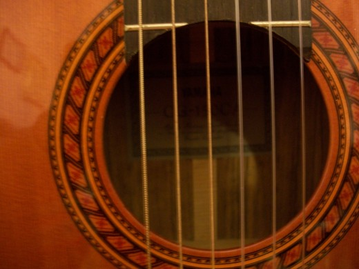 My photo of the beautiful rosette around the sound hole.
