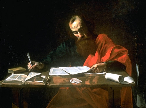 Saint Paul Writing His Epistles, Probably Valentin de Boulogne (1591-1632)