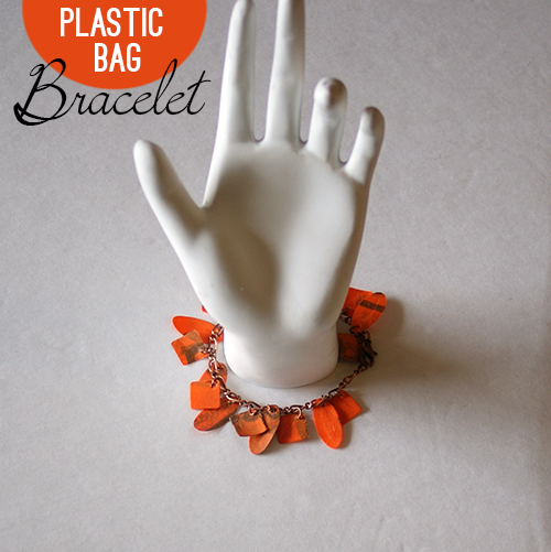 How to make a bracelet using plastic grocery bags