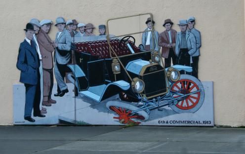 Flat tire wall mural