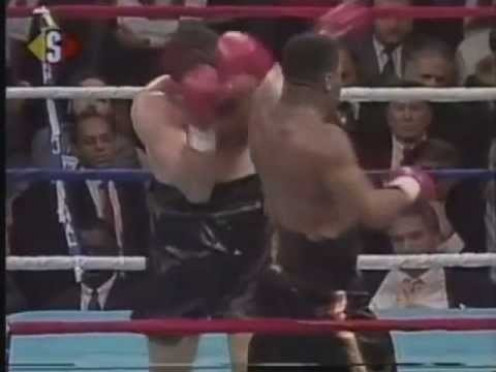 Ray Mercer was down on the cards going into the 9th of a scheduled twelve. Then he landed a destructive left uppercut that broke the Italian boxers nose and laid him out flat.