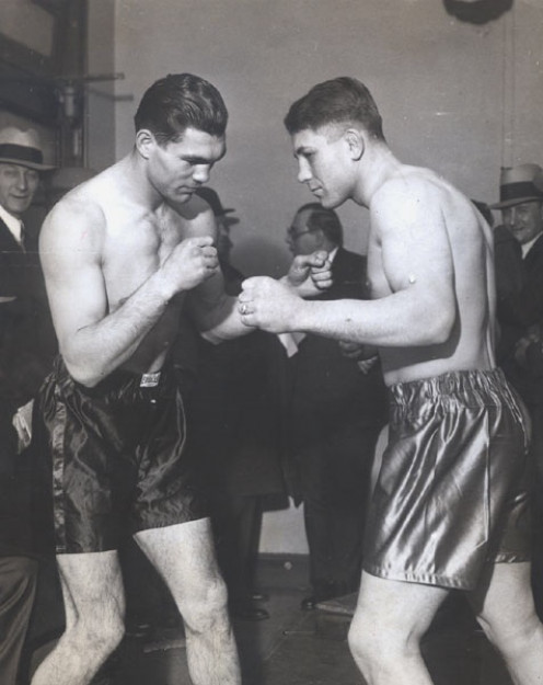Max Schmeling poses with Johnny Risko prior to their bout in 1929 that was named Fight of the Year.