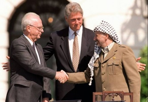 An historic moment occurred in 1993, when both Israel, represented by PM Yitzhak Rabin (left) and the PLO, represented by Yasser Arafat (right) officially recognised each others existence.