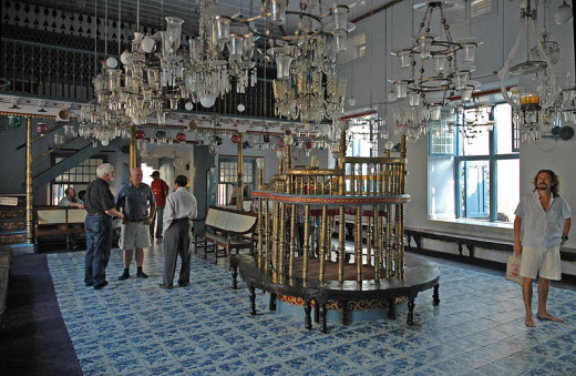 Interior of the beautiful Jewish Synagogue, Mattancherry.