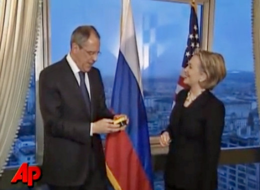 "Former Secretary of State Hillary Clinton presents Russian Foreign Minister Sergei Lavrov with a ""reset"" button in 2009."