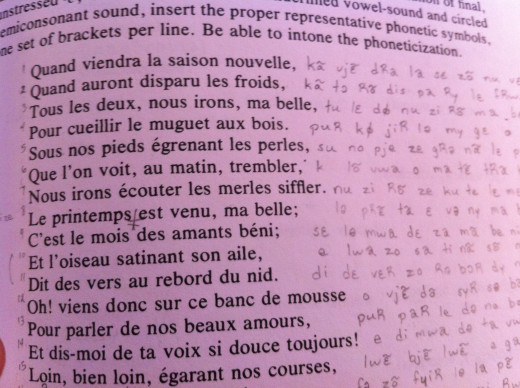 A snapshot of transcribing French lines of poetry using the International Phonetic Alphabet